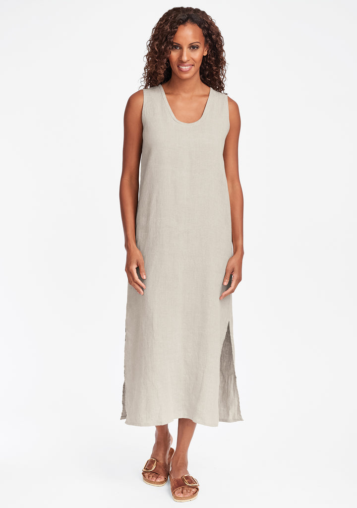 slipster linen maxi dress natural