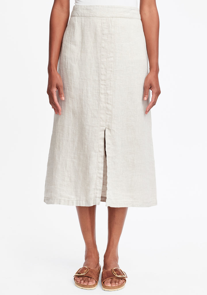 slit skirt linen maxi skirt natural