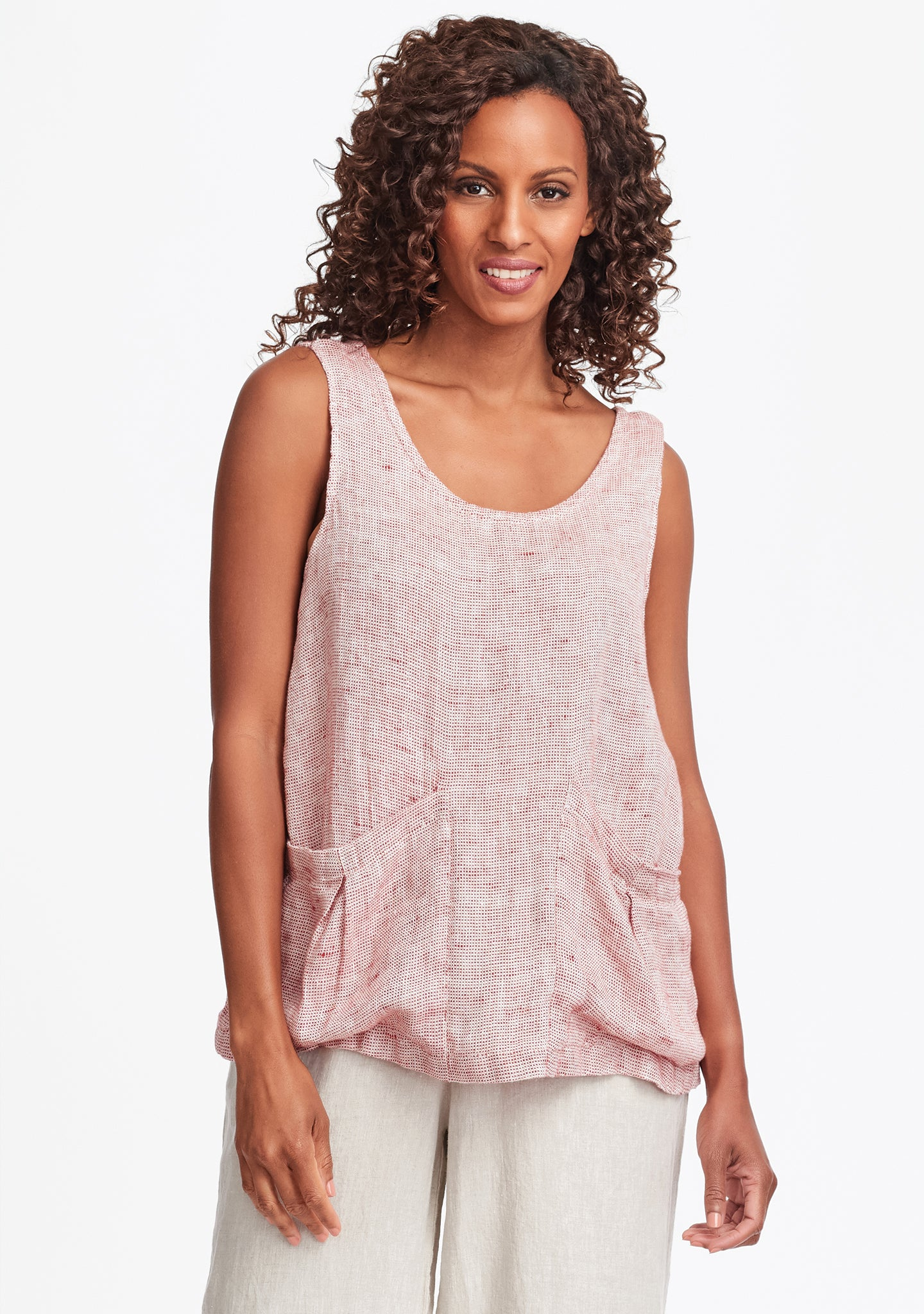 slouch tank linen tank top red