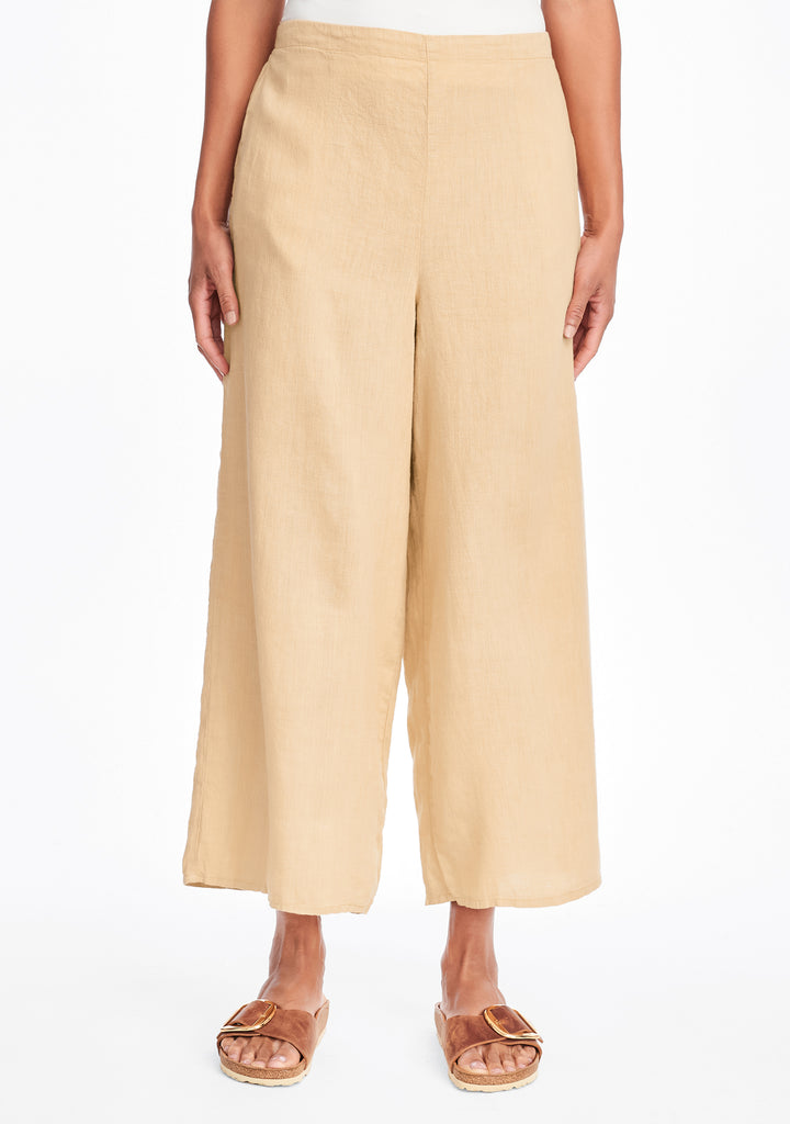 sociable flood wide leg linen pants yellow