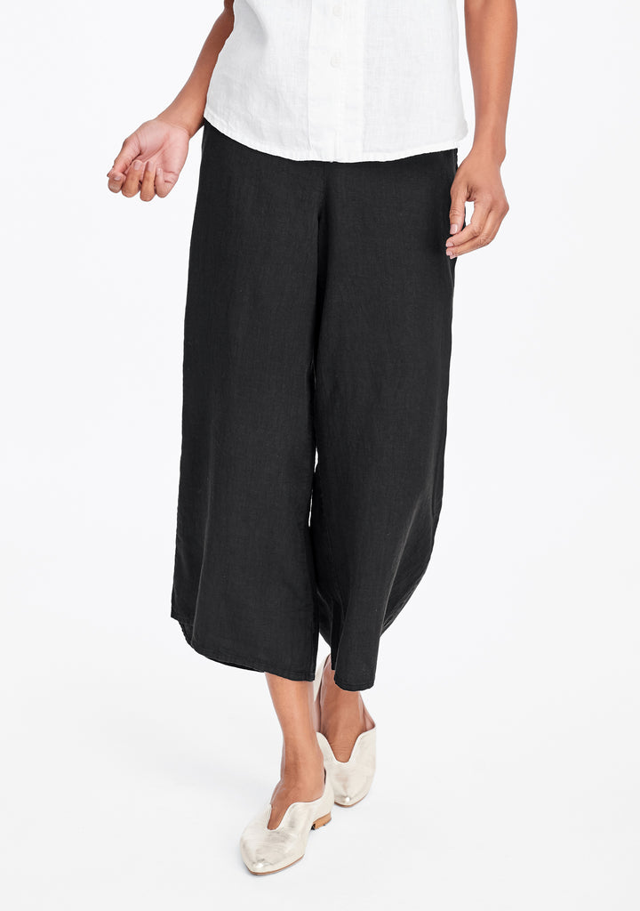 sociable flood wide leg linen pants black