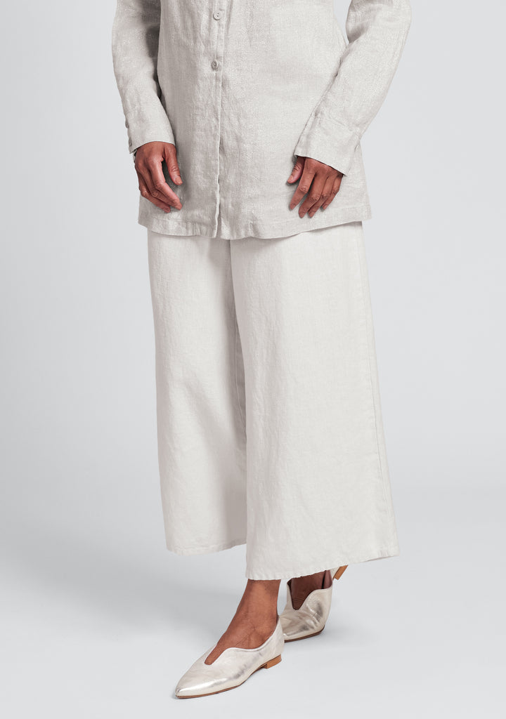 sociable flood wide leg linen pants white