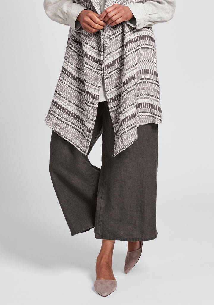 sociable flood wide leg linen pants brown