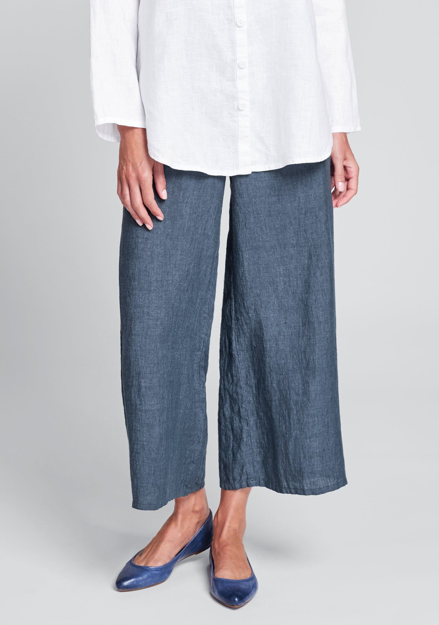 sociable flood wide leg linen pants blue