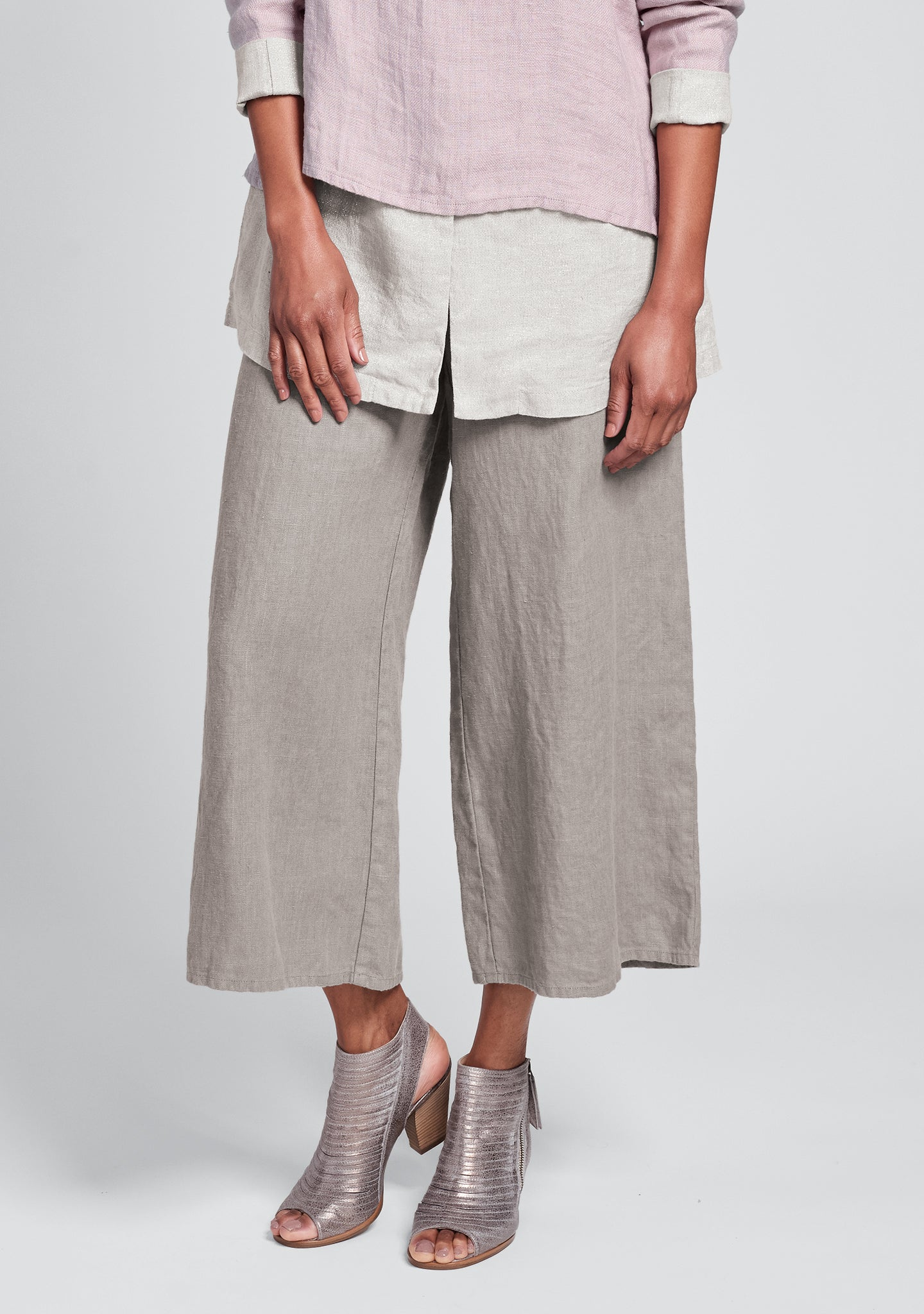 sociable flood wide leg linen pants natural