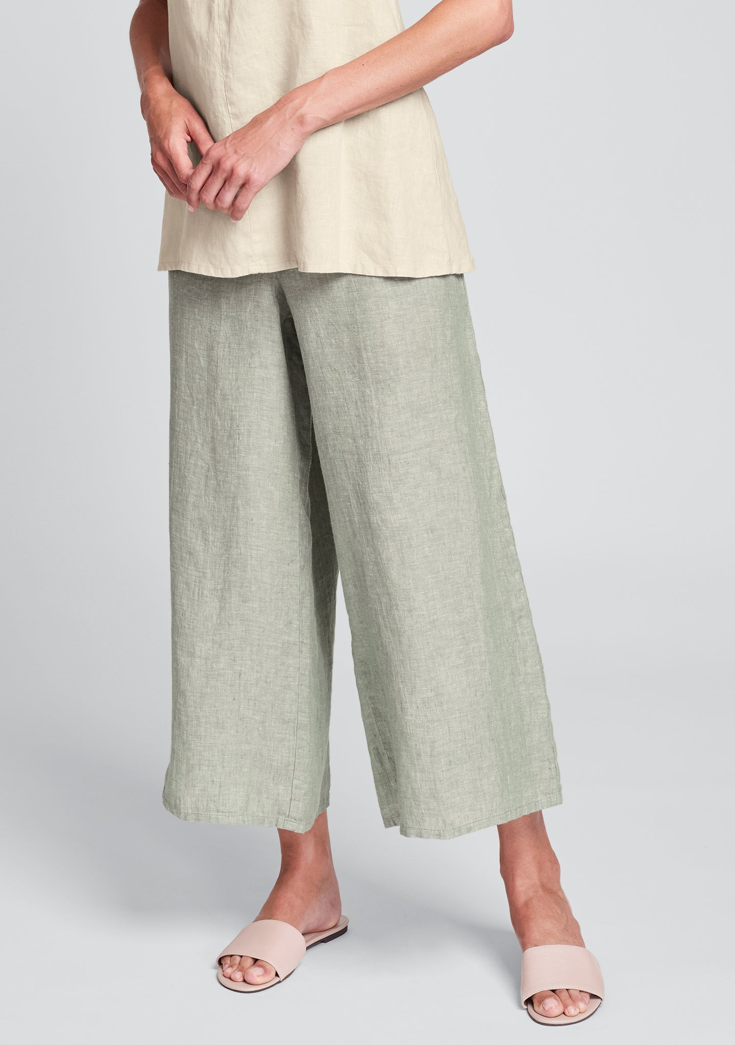 sociable flood wide leg linen pants green