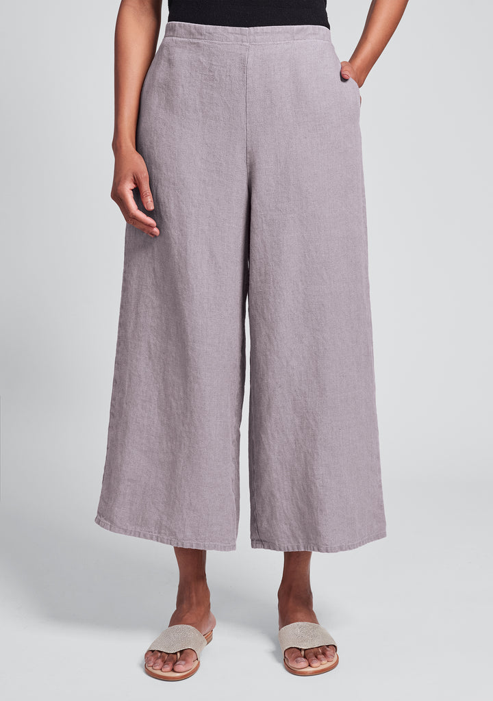 sociable flood wide leg linen pants pink