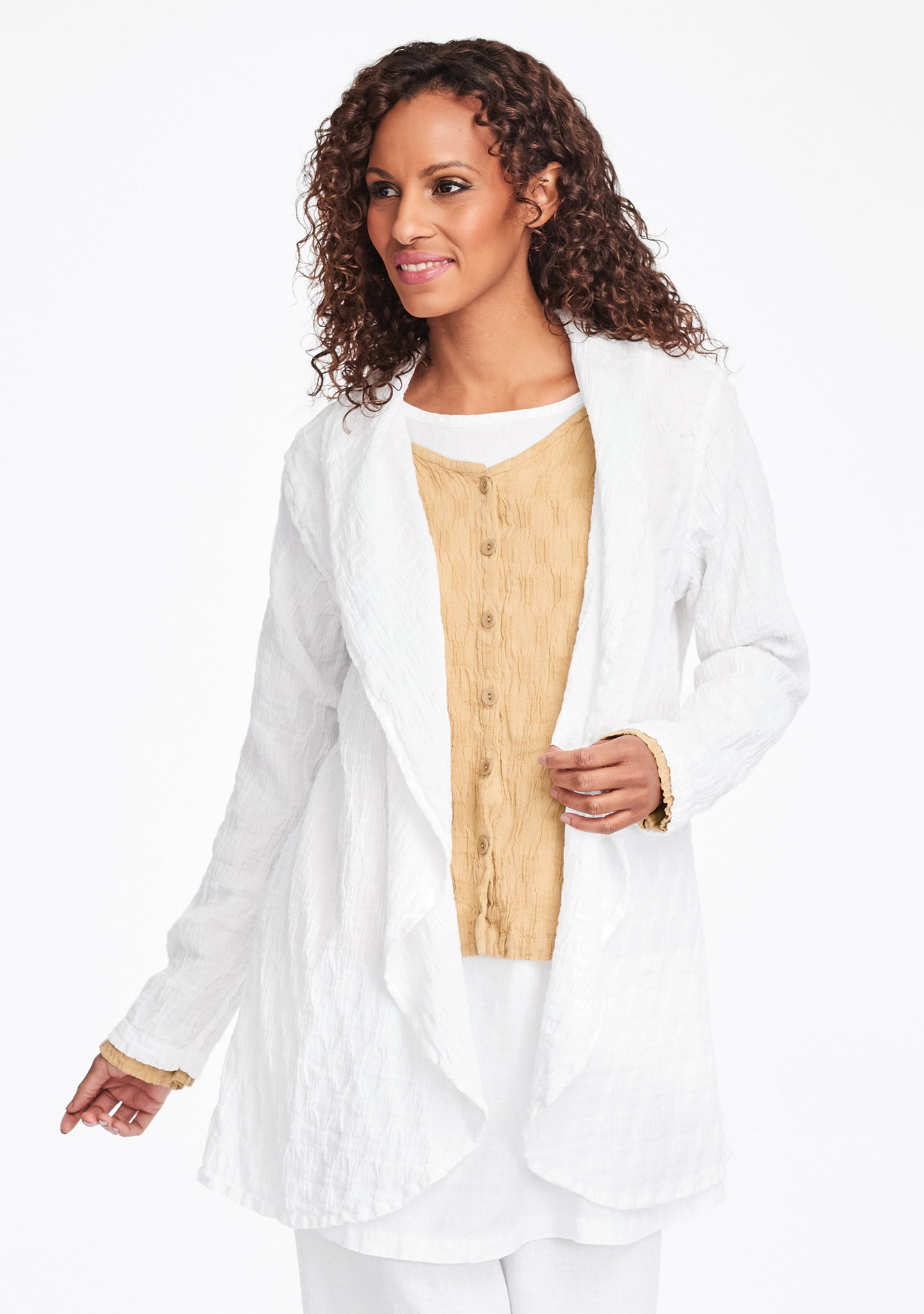 social wrap linen jacket white
