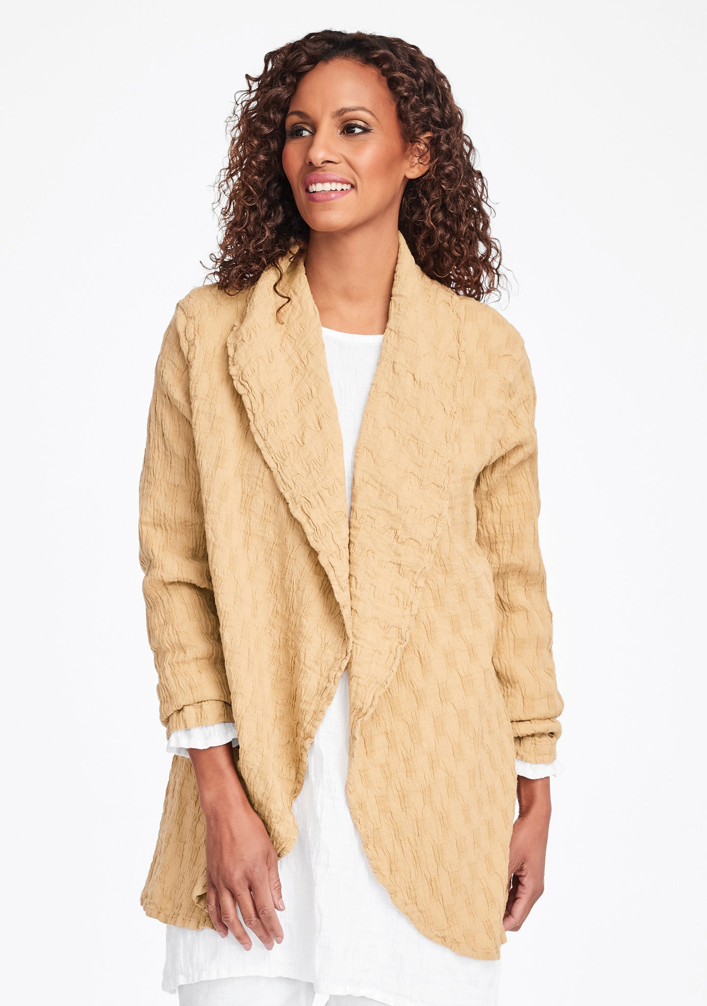 social wrap linen jacket yellow