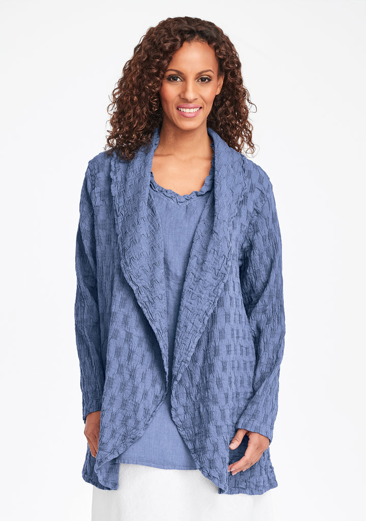 social wrap linen jacket blue