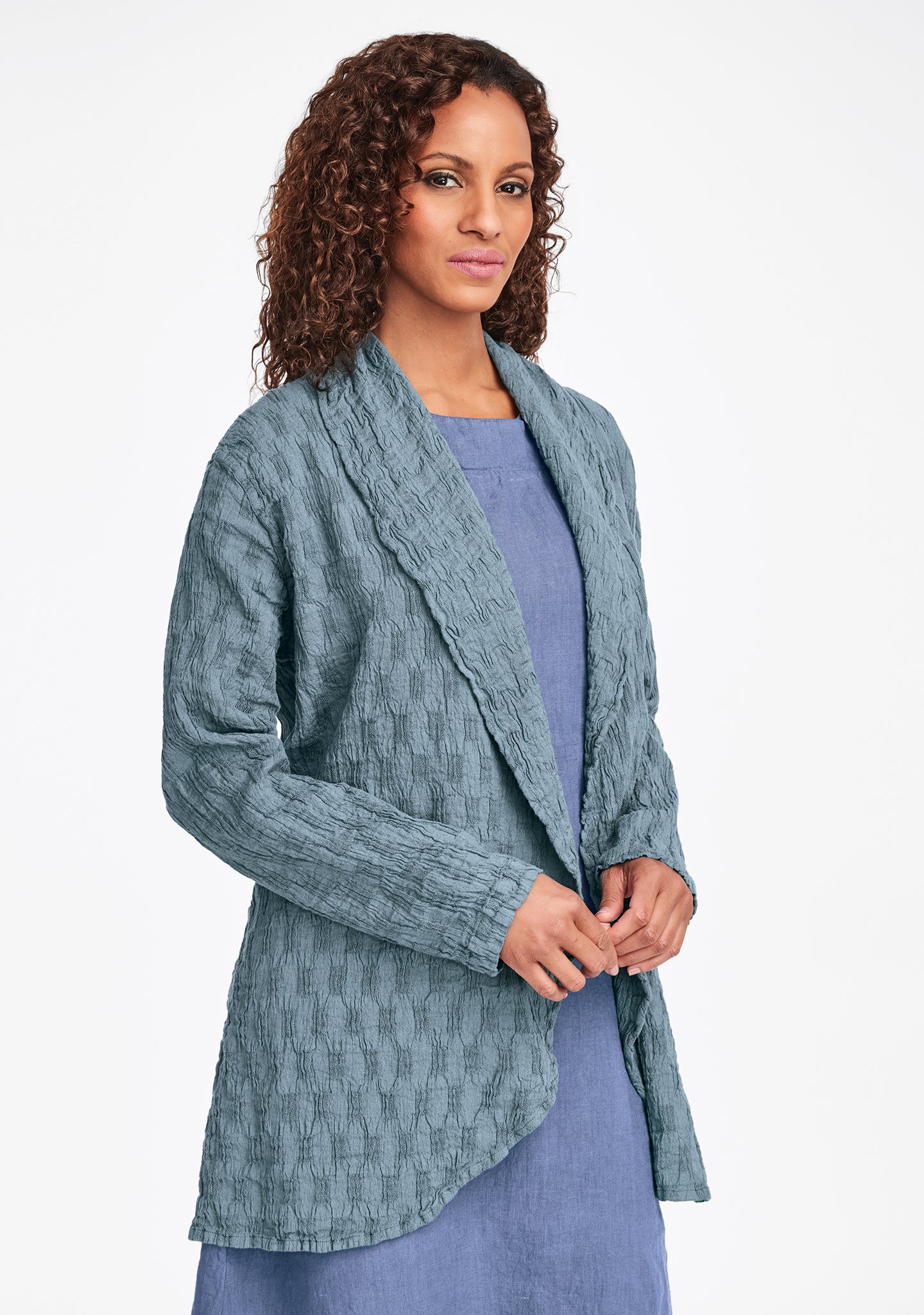 social wrap linen jacket green
