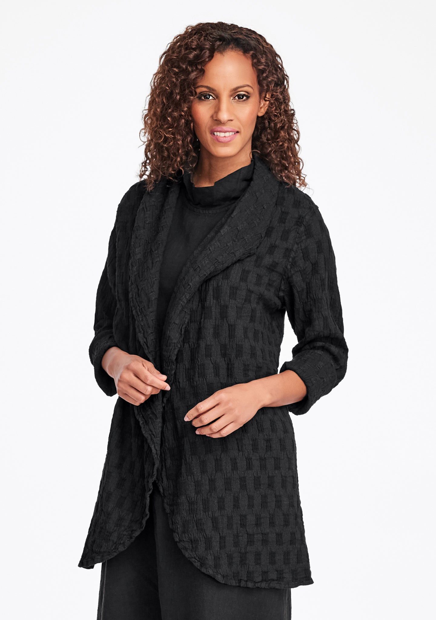 social wrap linen jacket black