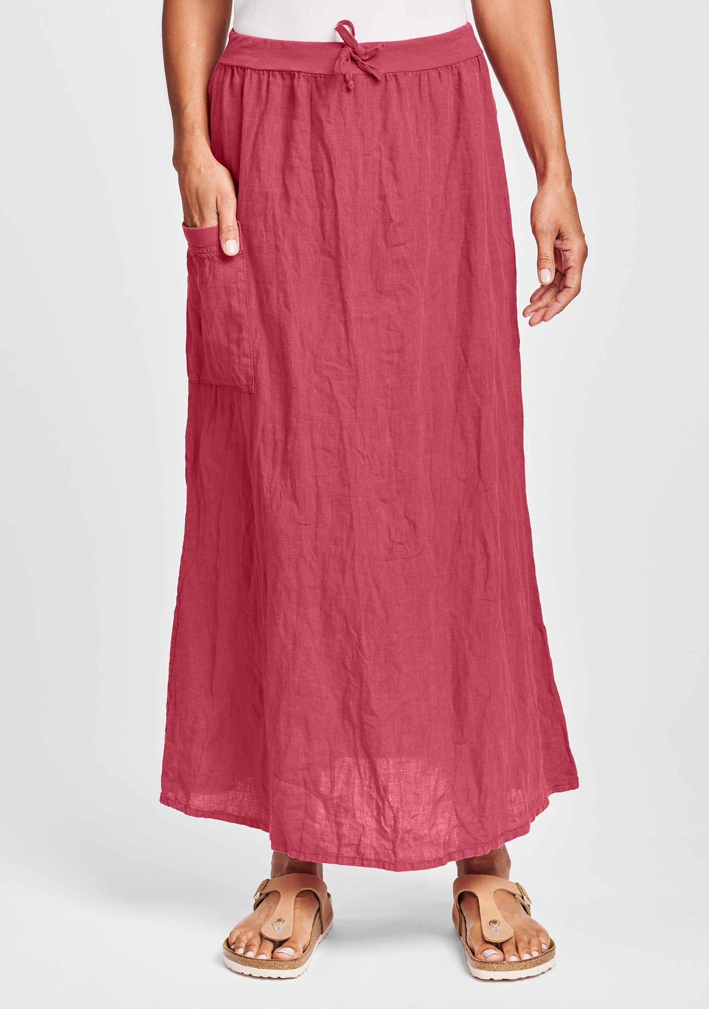 south side skirt linen maxi skirt red