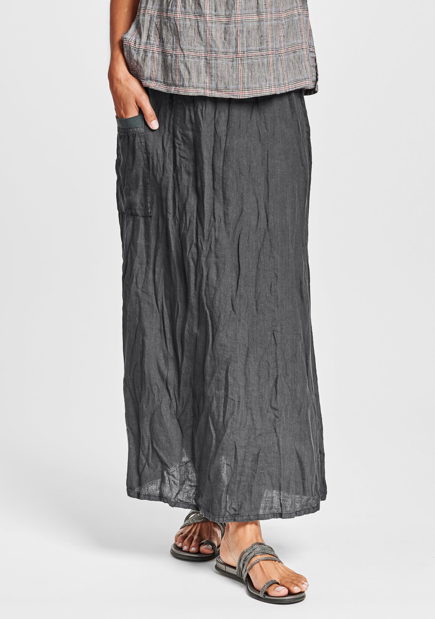south side skirt linen maxi skirt black