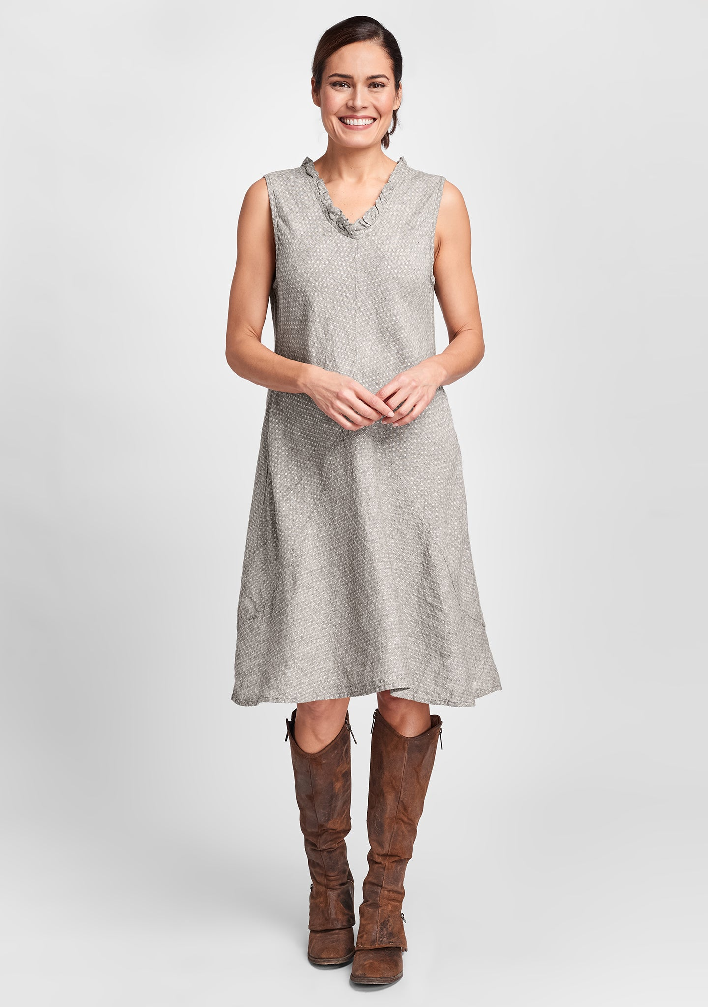 special dress linen shift dress brown