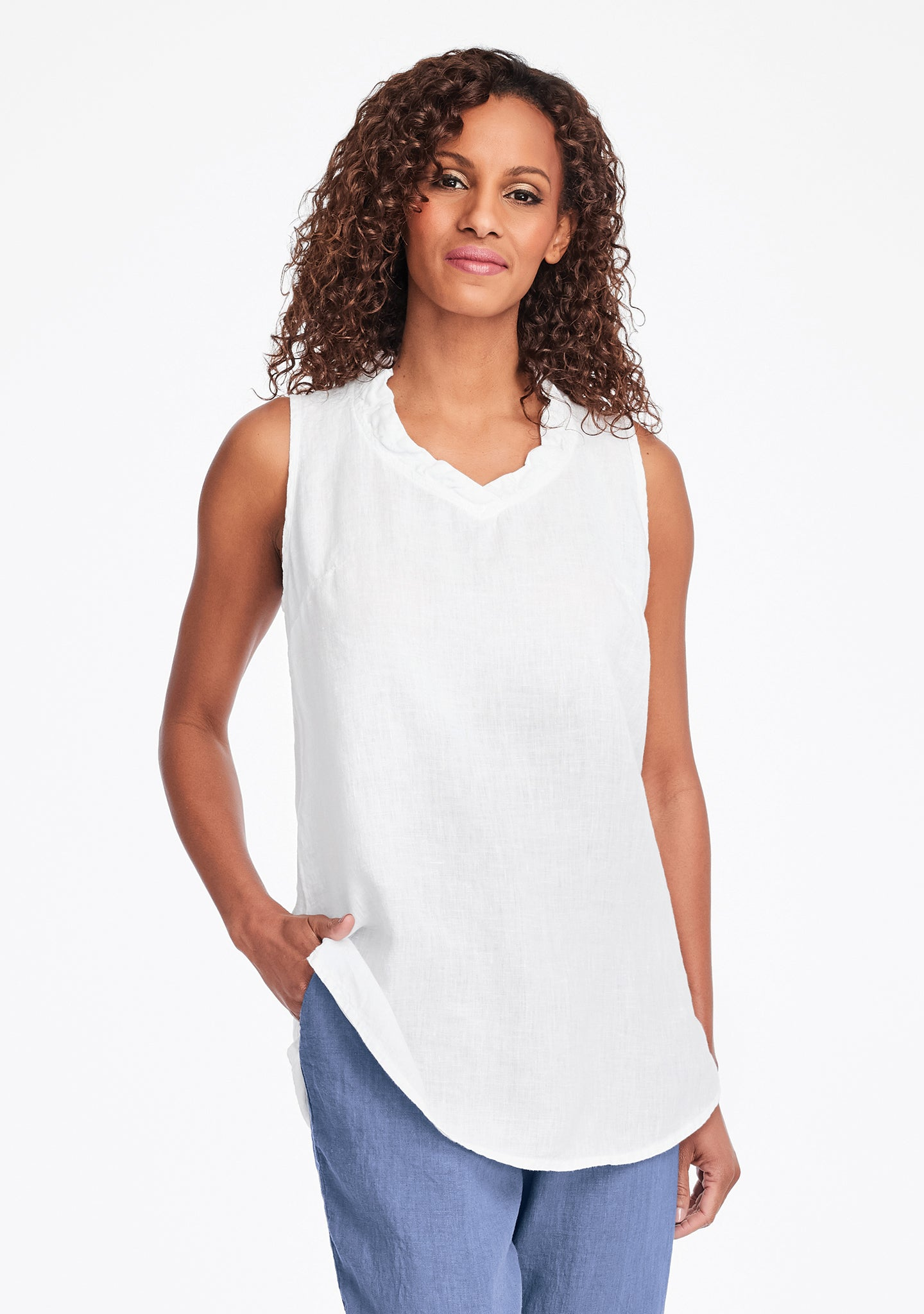 special occasion linen tank top white