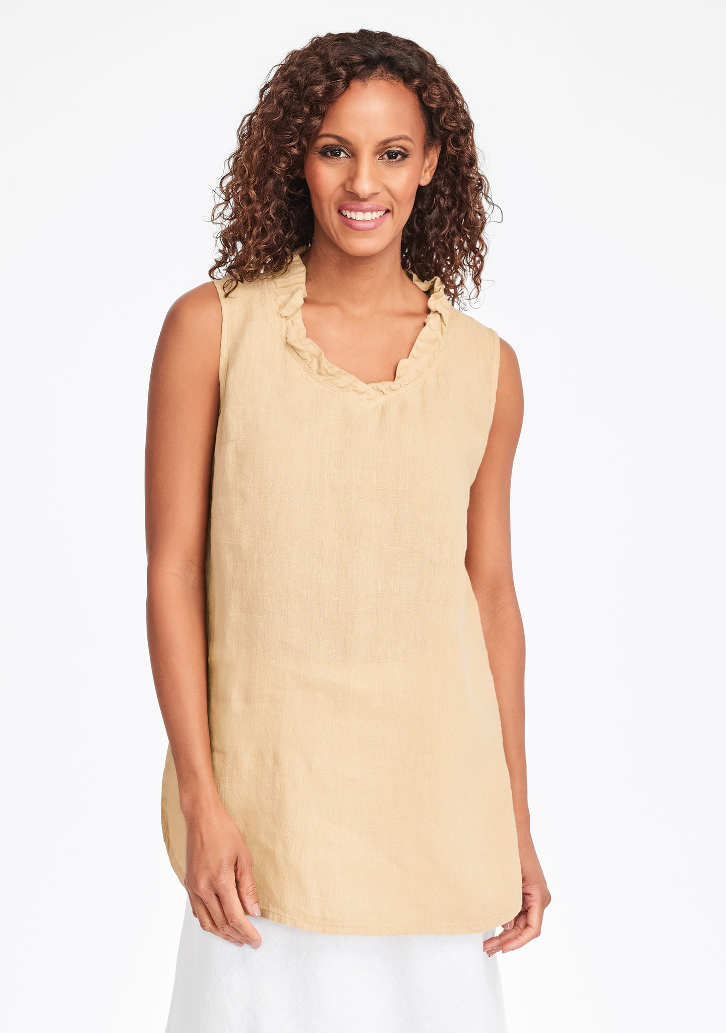 special occasion linen tank top yellow