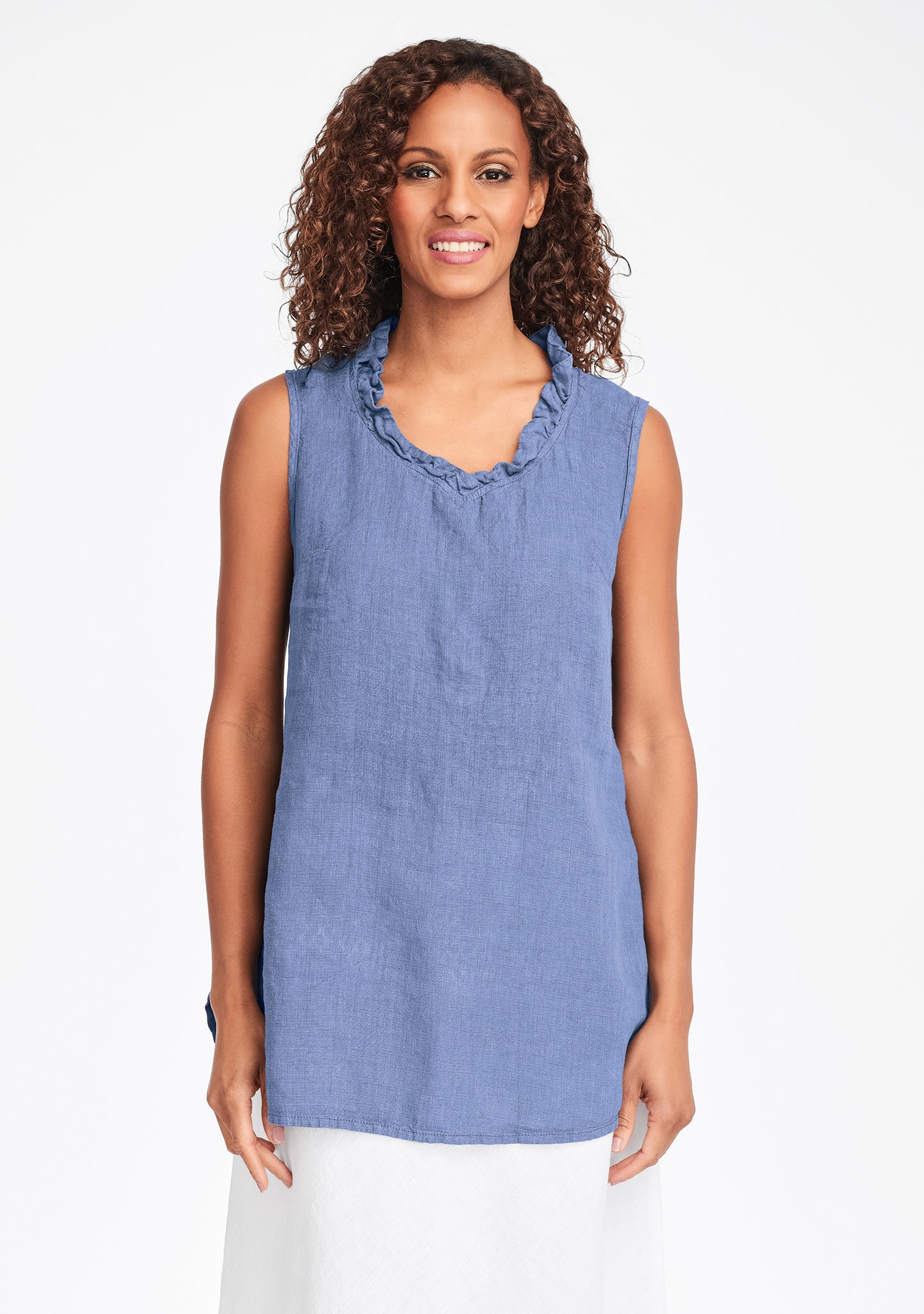 special occasion linen tank top blue