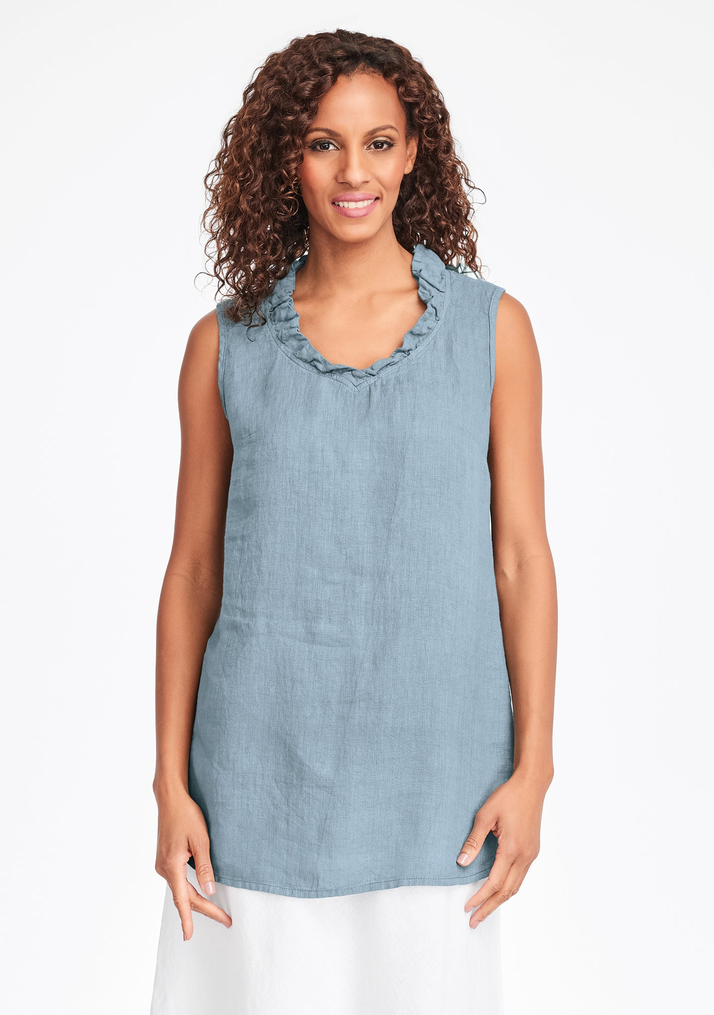 special occasion linen tank top green