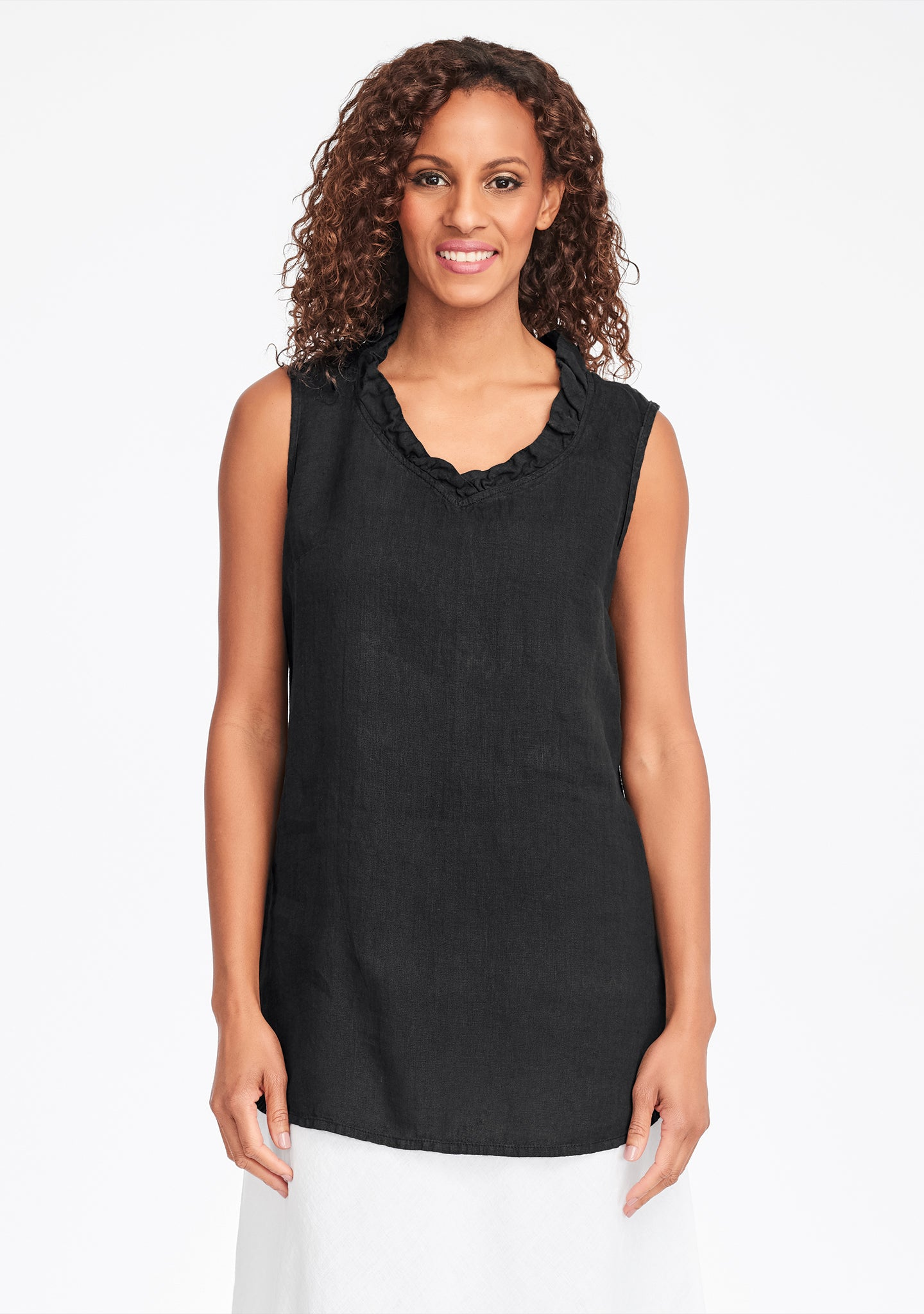 special occasion linen tank top black
