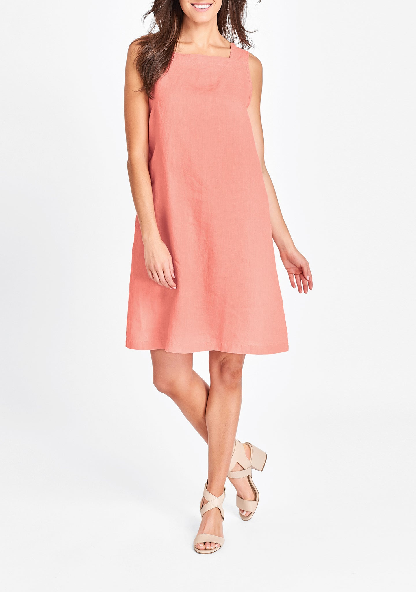 square neck dress pink