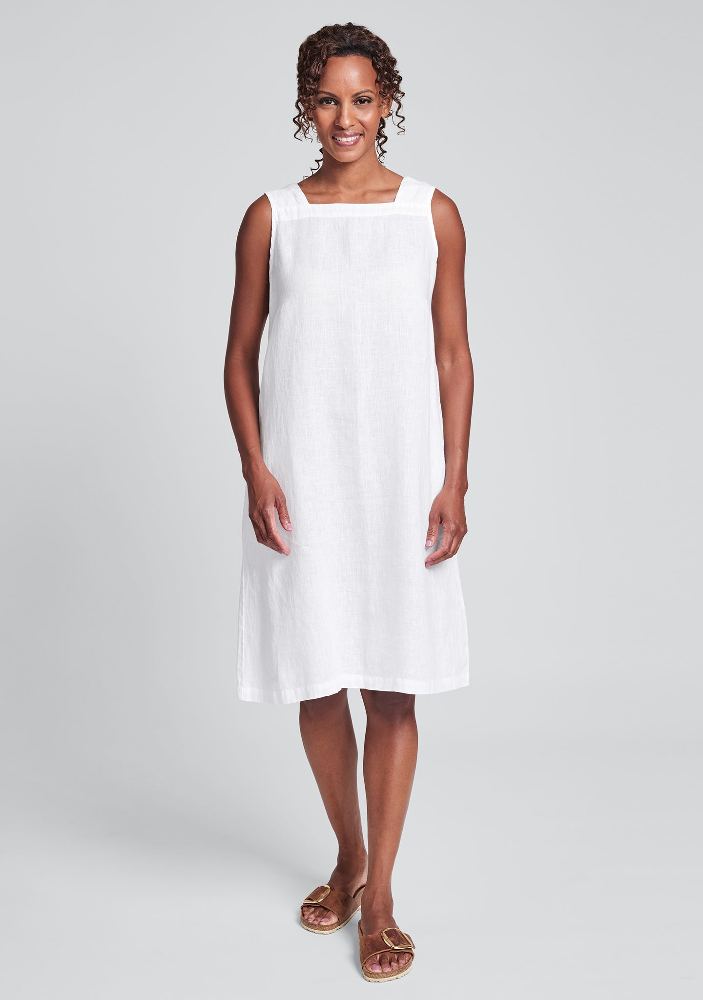 square neck dress linen shift dress white