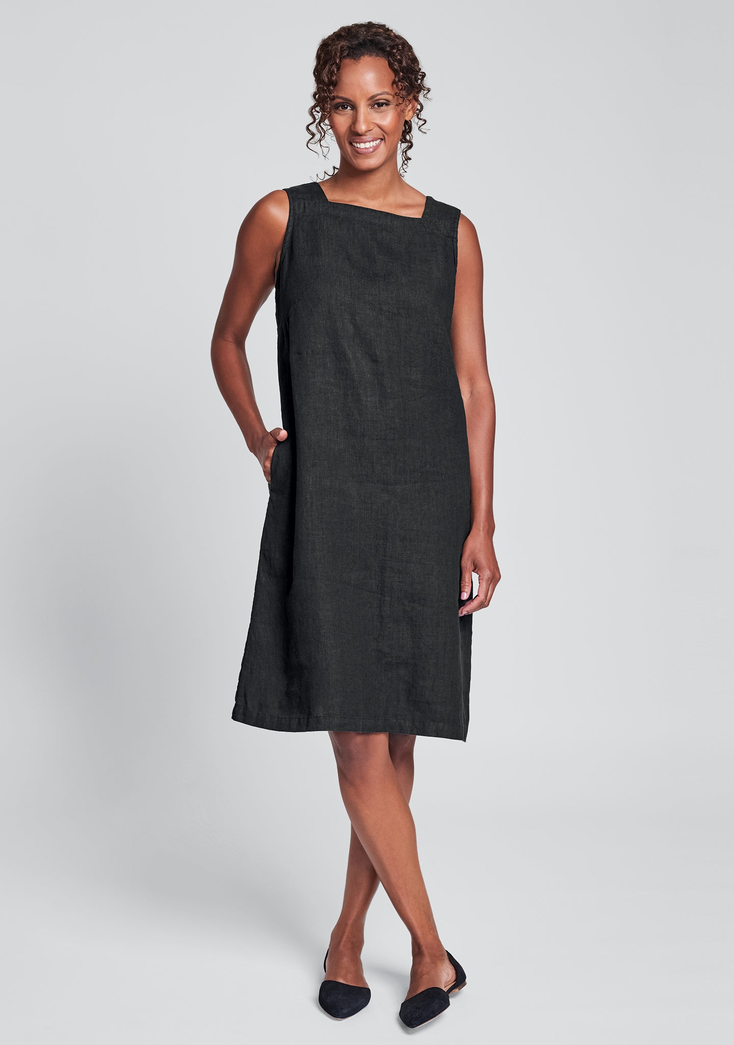 square neck dress linen shift dress black