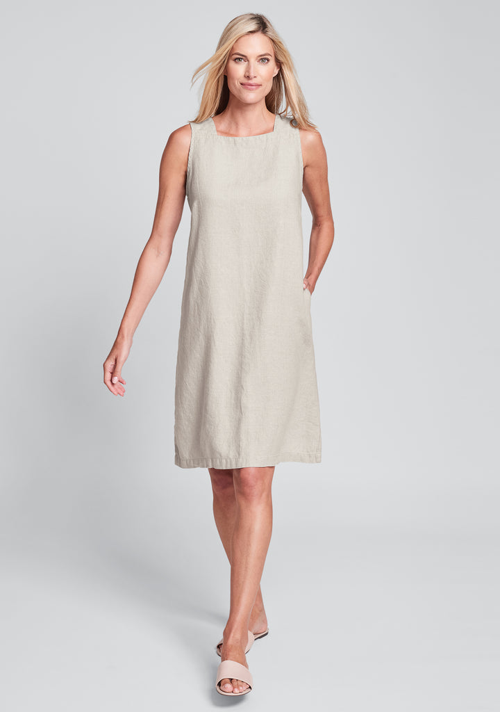 square neck dress linen shift dress natural