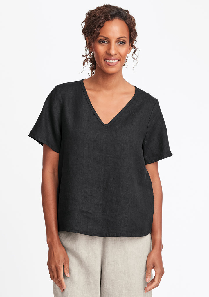 s/s crop v linen t shirt black