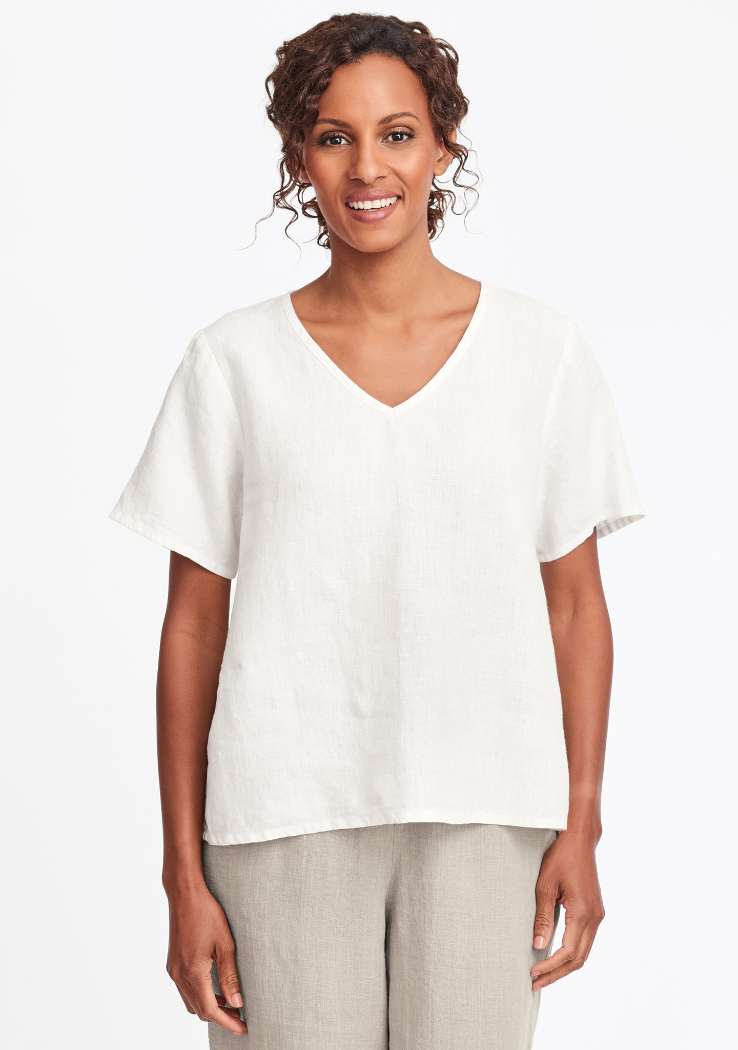 s/s crop v linen t shirt white