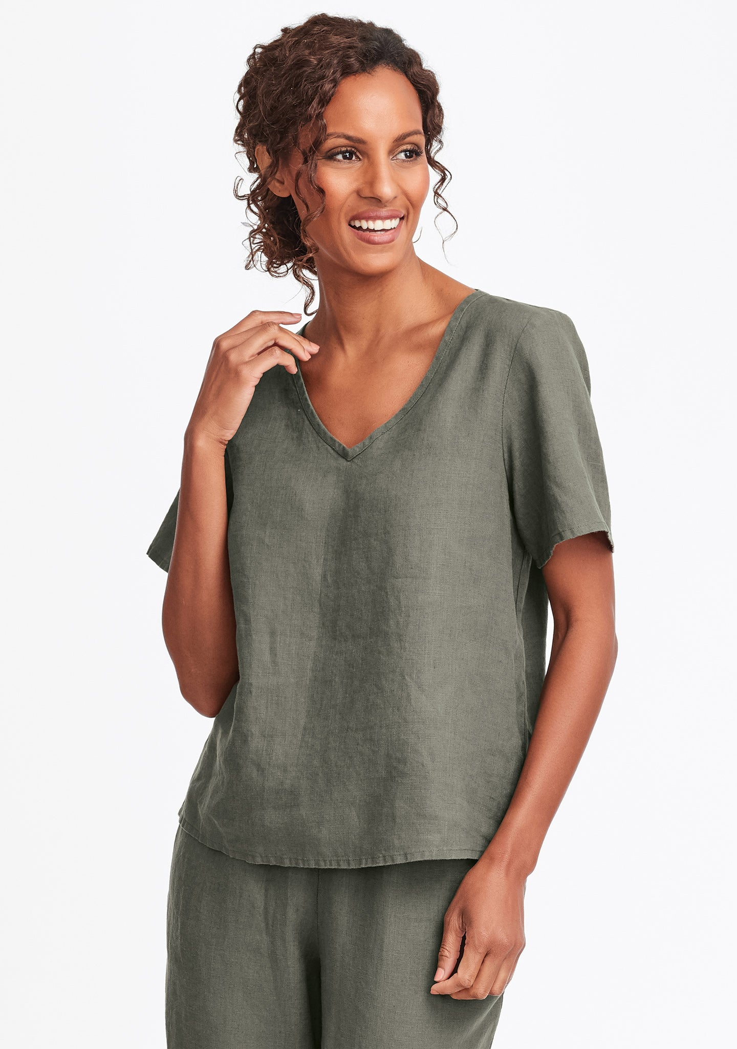 s/s crop v linen t shirt green