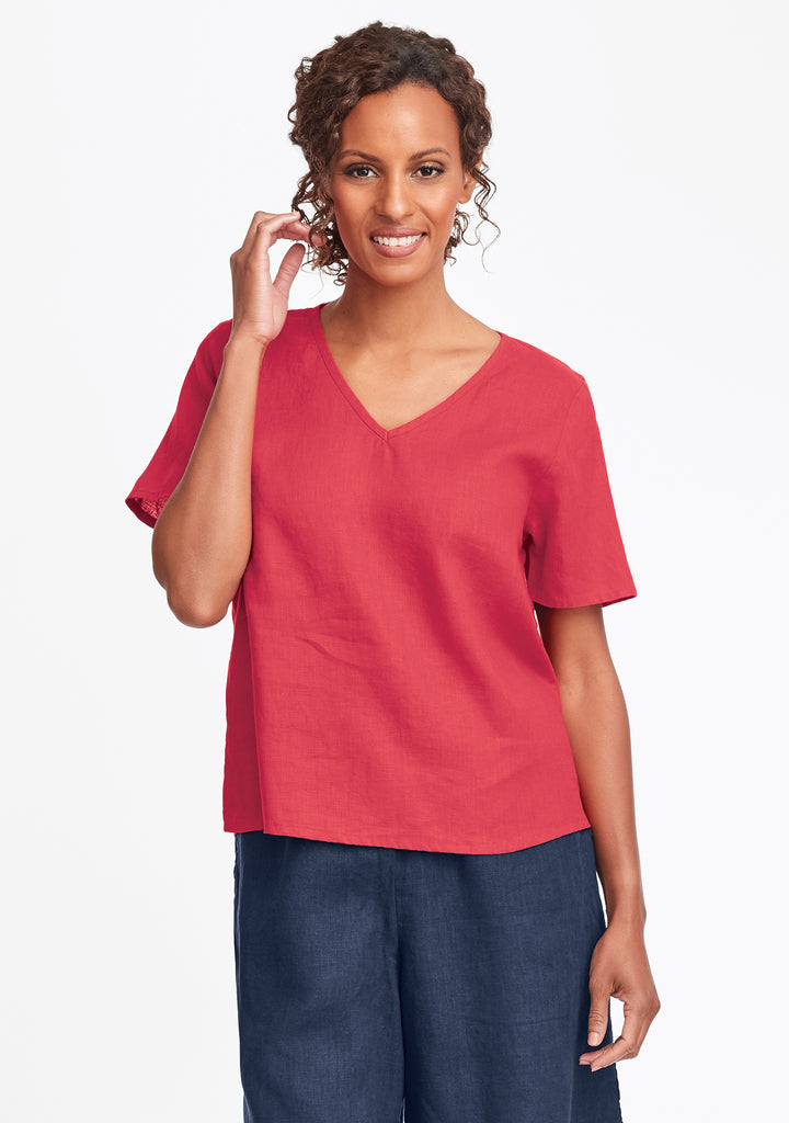 s/s crop v linen t shirt red