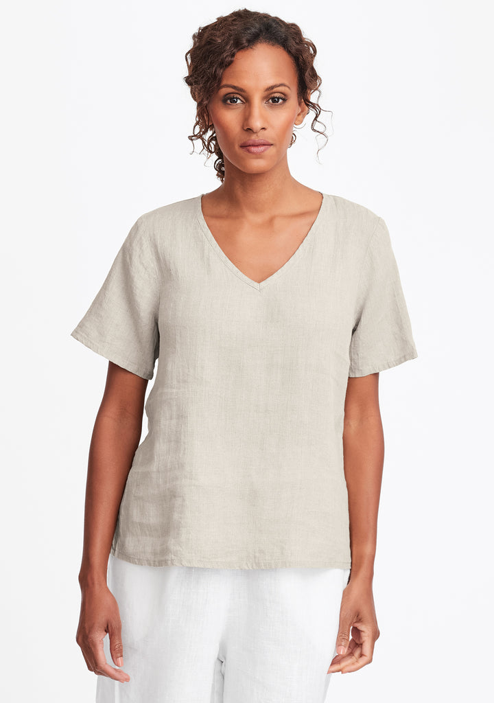 s/s crop v linen t shirt natural