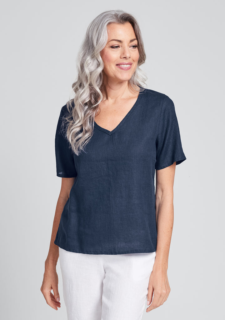 s/s crop v linen t shirt blue