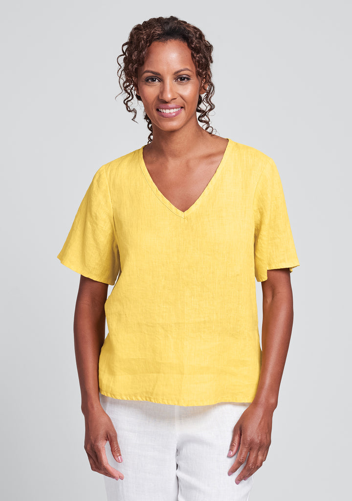 s/s crop v linen t shirt yellow