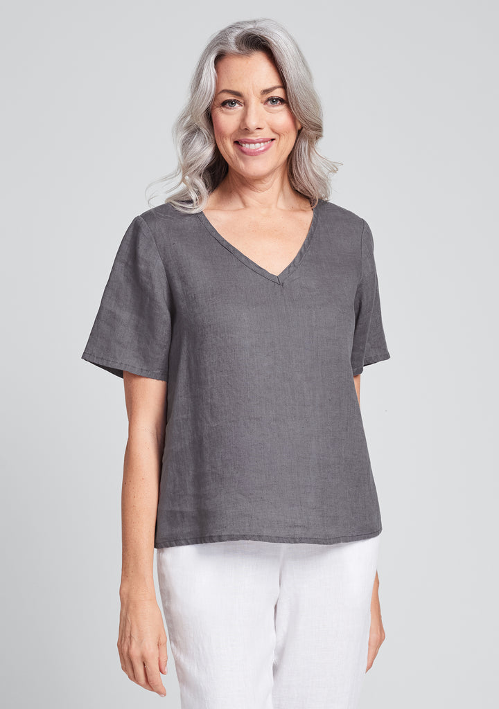 s/s crop v linen t shirt grey
