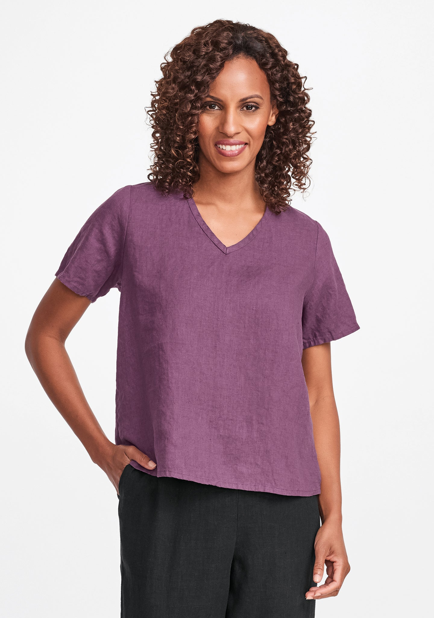 s/s crop v linen t shirt purple