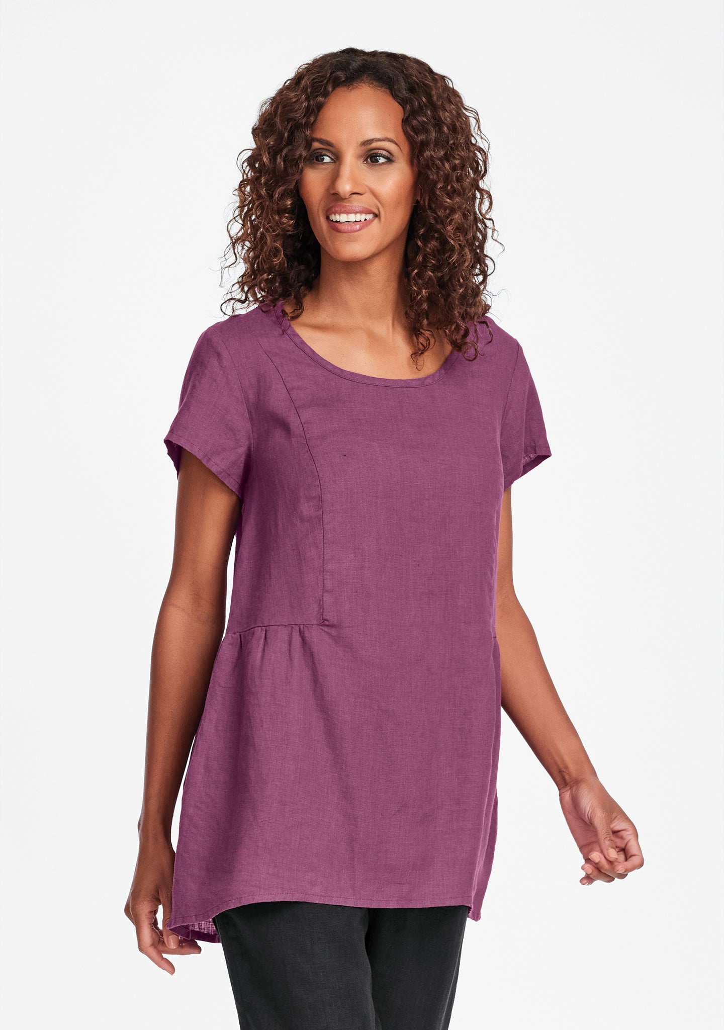 s/s play in it linen t shirt purple