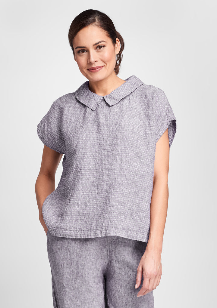starlet top linen shirt purple