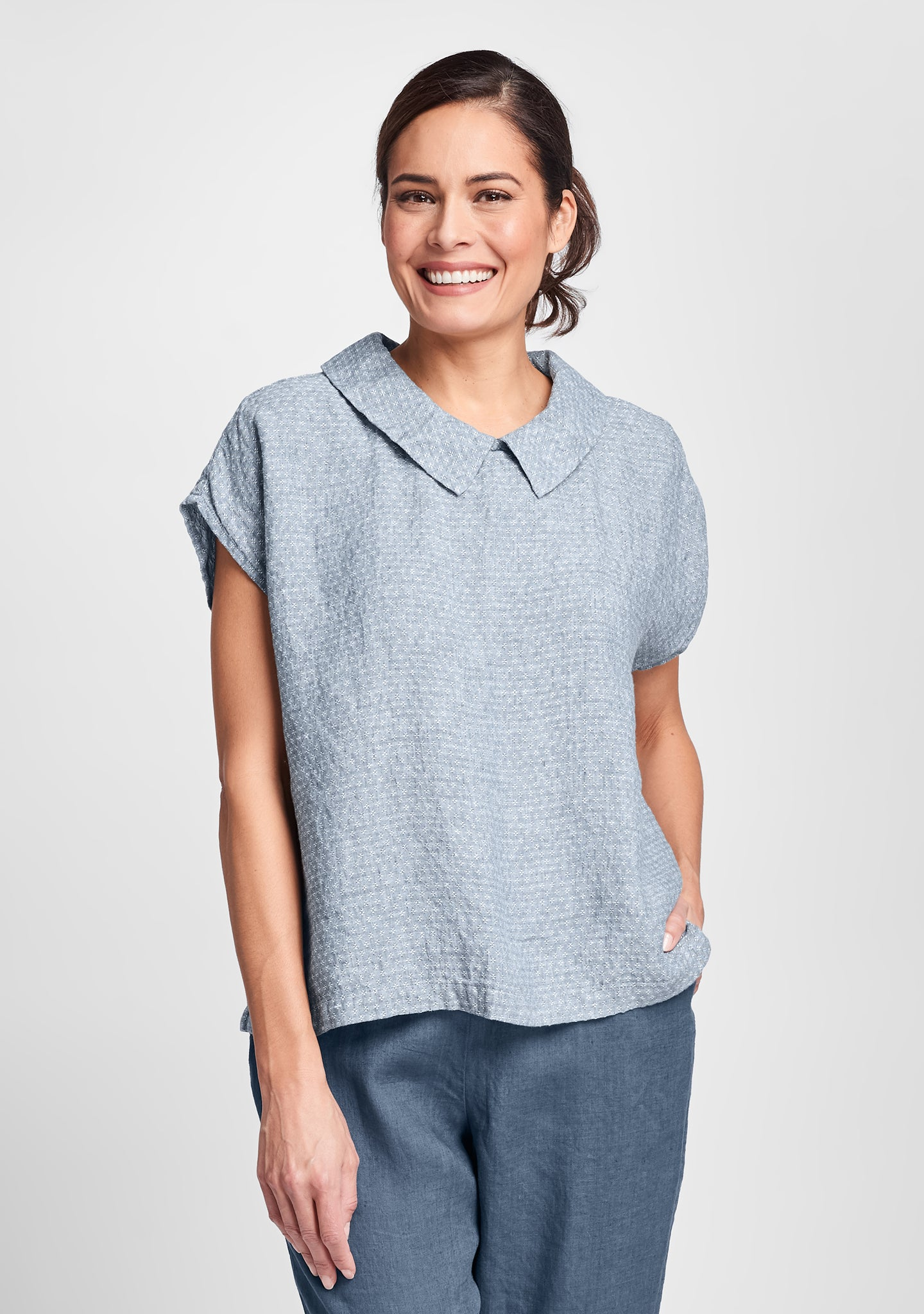 starlet top linen shirt blue