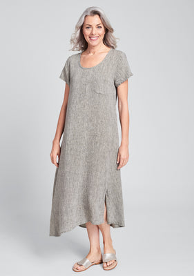 stretched top linen maxi dress brown