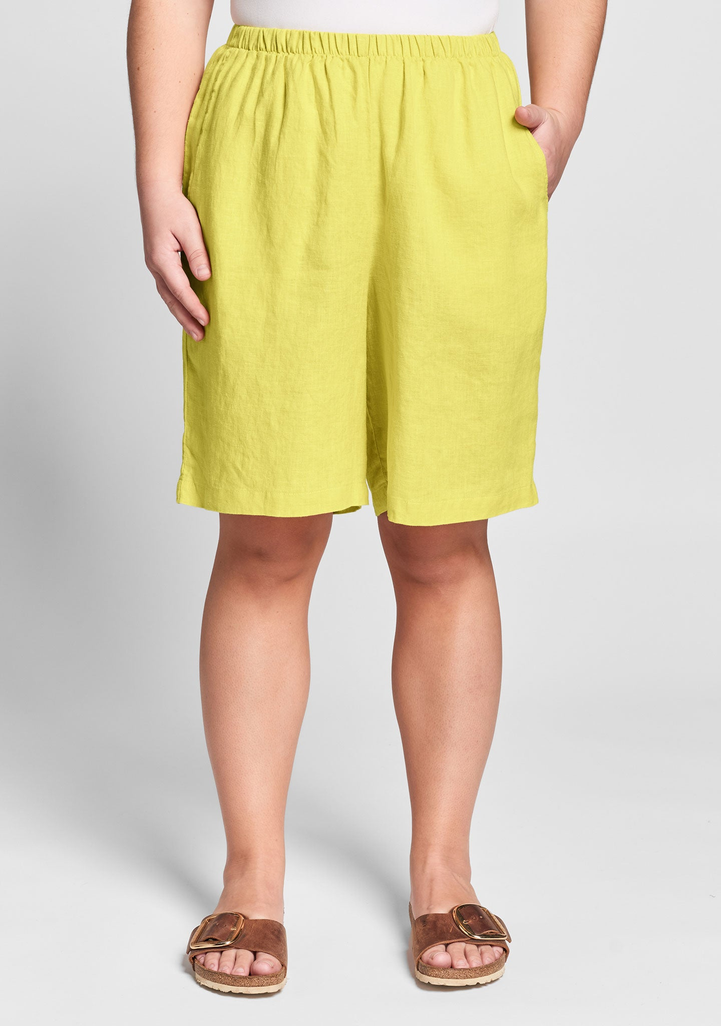 sun shorts linen shorts yellow