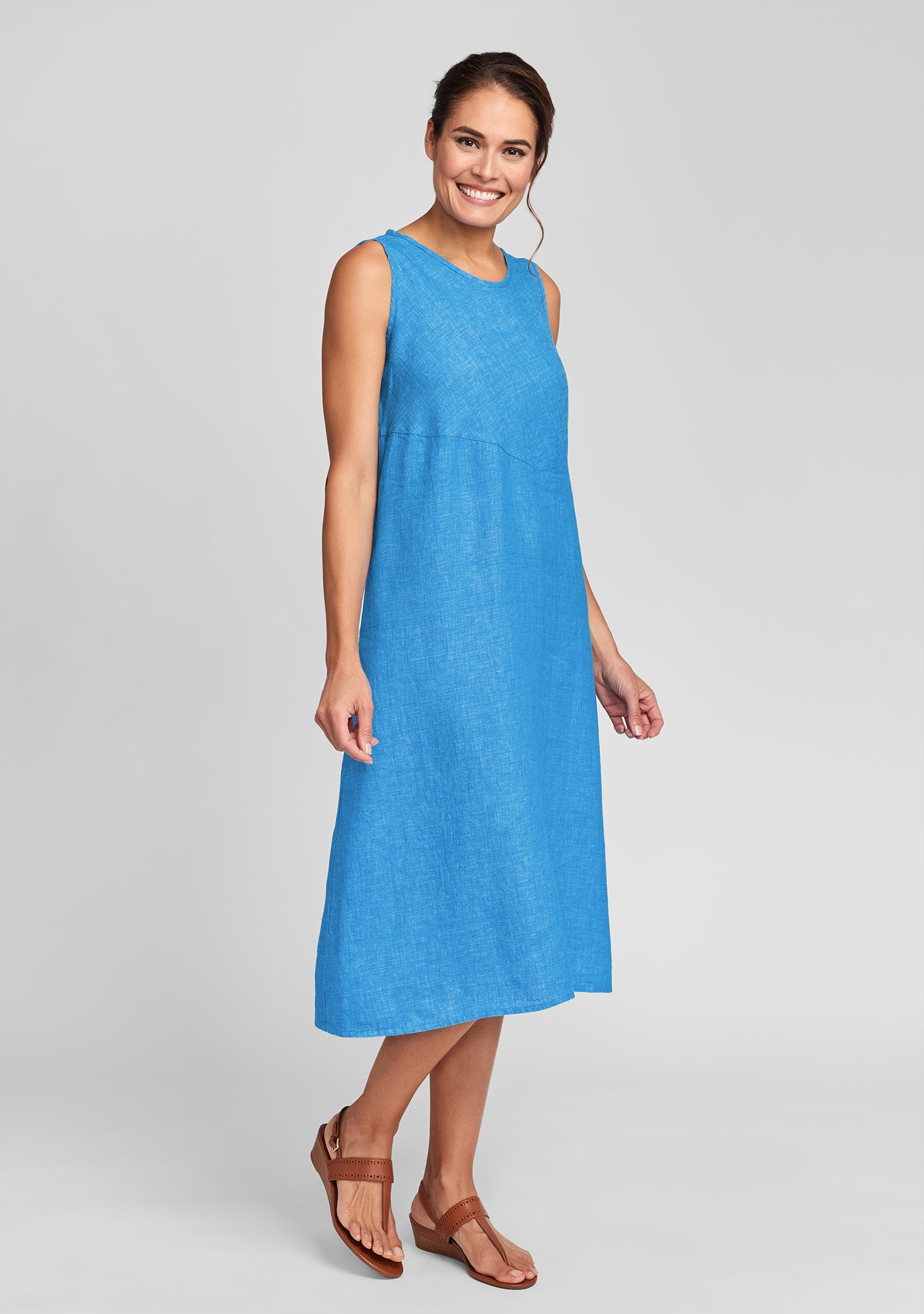 sunrise dress linen midi dress blue