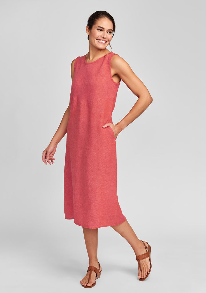 sunrise dress linen midi dress red