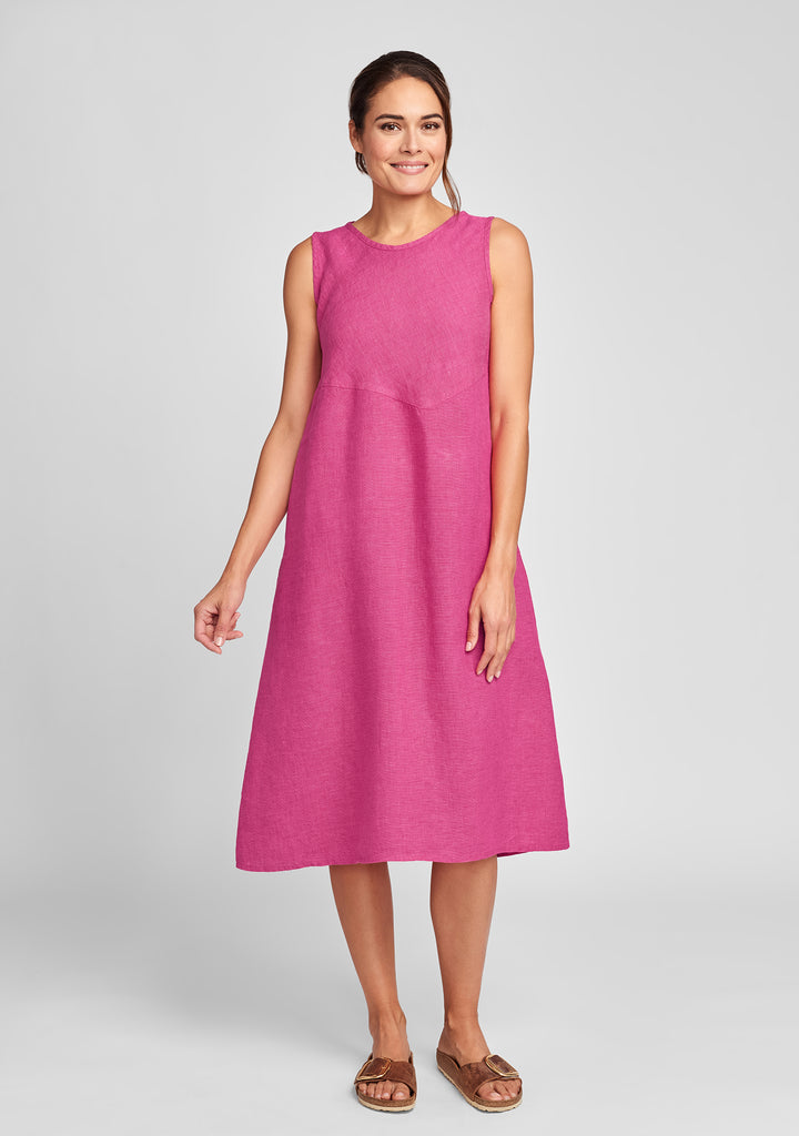 sunrise dress linen midi dress pink