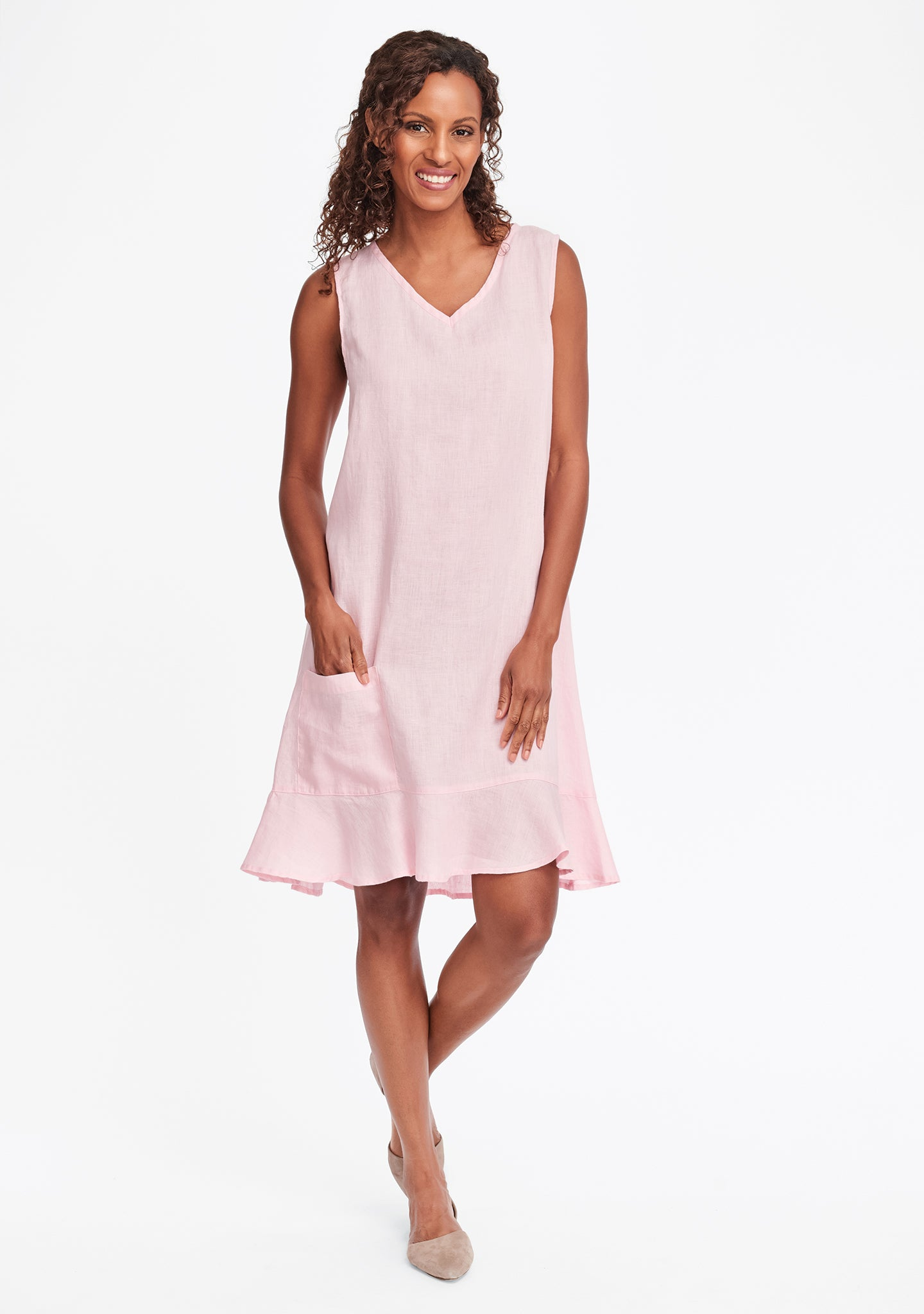 sweet dreams dress linen shift dress pink