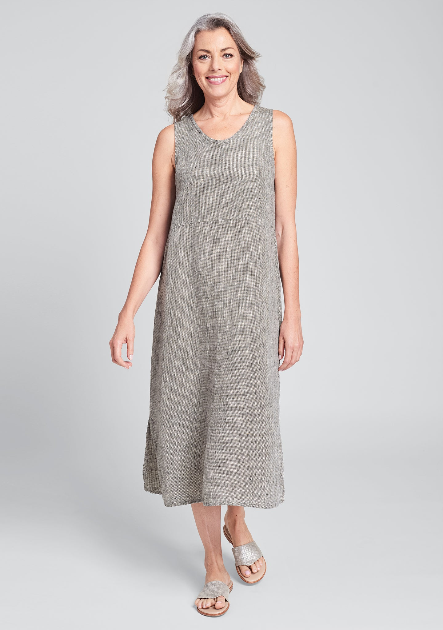 tank dress linen maxi dress brown
