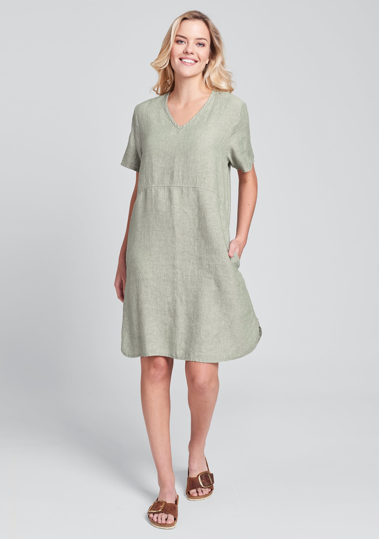 tee shirt dress linen dress green