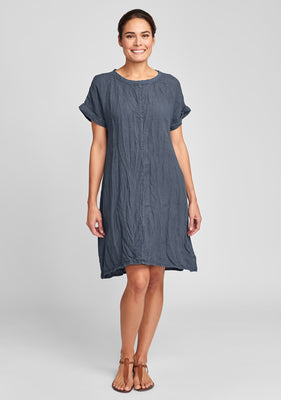 tee top dress linen summer dress blue