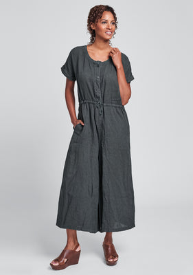 tee top jumper linen jumpsuit black